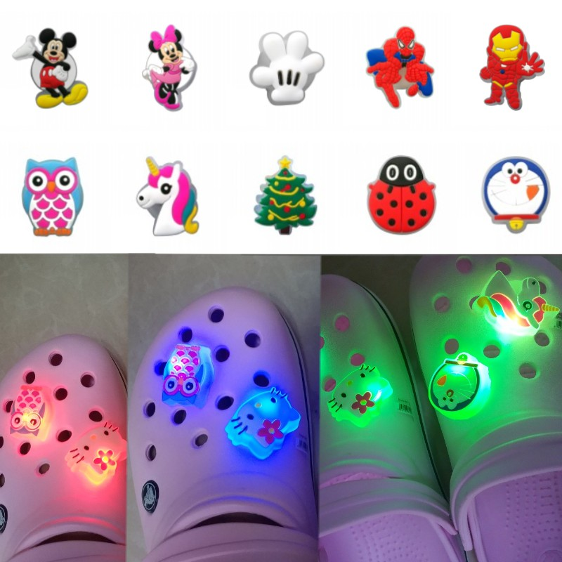 1PCS Avengers LED PVC Shoe Charms Buckles Mickey Unicorns Light Shoes Accessories Ornaments Fit For Croc Charms JIBZ Party Gift