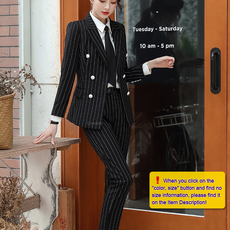 Lenshin High Quality 2 Piece Set Striped Formal Pant Suit Soft and Comfortable Blazer Office Lady Uniform Designs Women Business 18