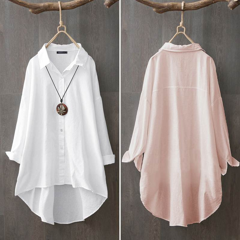 Women Tops And Blouses ZANZEA Plus Size Lady Tunic Casual Cotton White Shirt 2020 Female Solid Lapel Neck Blusas Chemiser Mujer