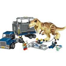 Jurássico mundo 2 t rex transporte blocos de construção indominus dinossauro 75933 jurássico dinossauro brinquedos tijolos para crianças presente