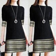 Модное женское повседневное винтажное платье с круглым вырезом элегантное мини-платье со средним рукавом однотонное женское платье#10