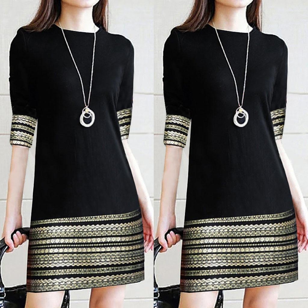 Модное женское повседневное винтажное платье с круглым вырезом элегантное мини-платье со средним рукавом 2019 однотонное женское платье #10