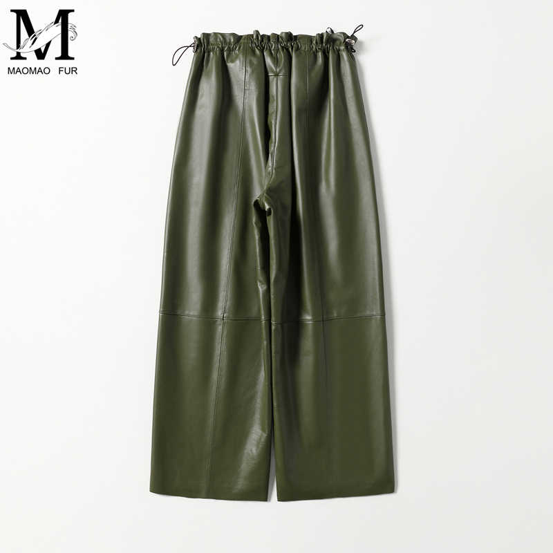 Hakiki deri pantolon Yeni Moda Geniş Bacak Pantolon Sonbahar Kadınlar Gerçek deri pantolon