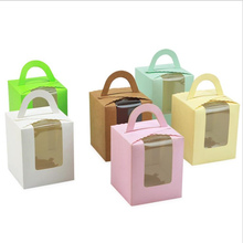 5pcs/lot Portable Cupcake Box with PVC Window Kraft Paper Boxes Dessert Macaron Cookies Candy Snack Packing for Gift Party