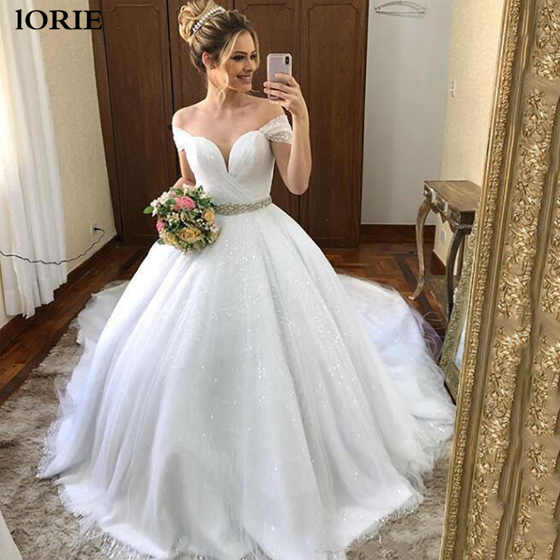 LORIE Princess Shinny Wedding Dresses Off The Shoulder Glitter Ball Gown Bride Dress Vestidos De Novia Dubai Wedding Gowns