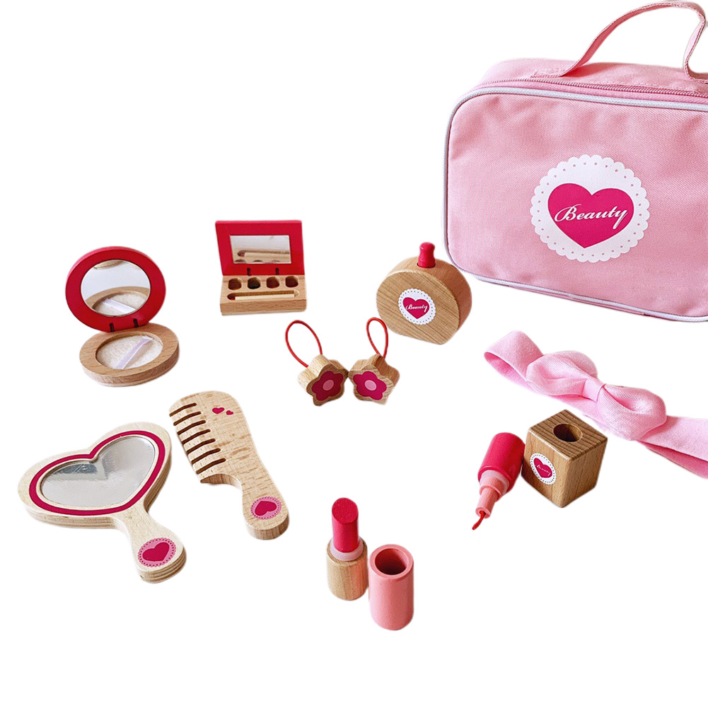 Girl Princess Cosmetic Travel Gift Wooden Toy Pretend Play Birthday Bag Kit Portable Dressing Non-toxic Kids Makeup Set Safety