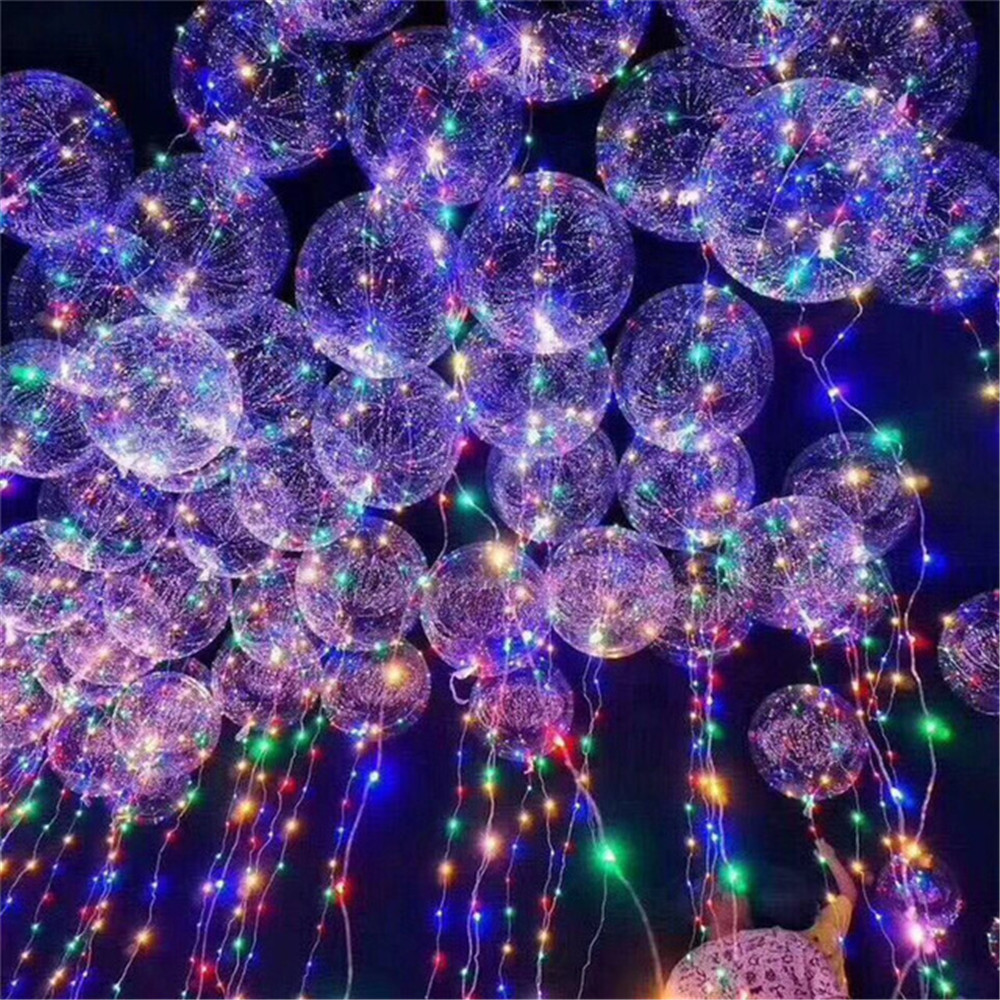 2pcs=(1pc <font><b>18</b></font>/24inch Transparent Bubble Balloon+ 1pc Colorful 3M Led String Light )Wedding Birthday Christmas Party Decoration image