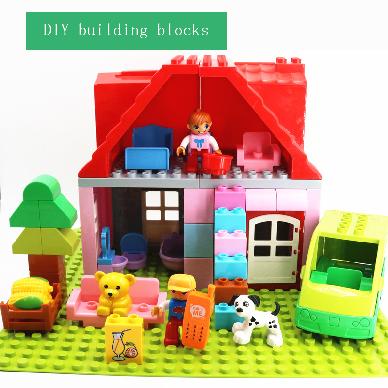DIY Large Particle Building Blocks Family House Furniture Duploe Animals Duploed Toys For Children DIY Bricks Accessories