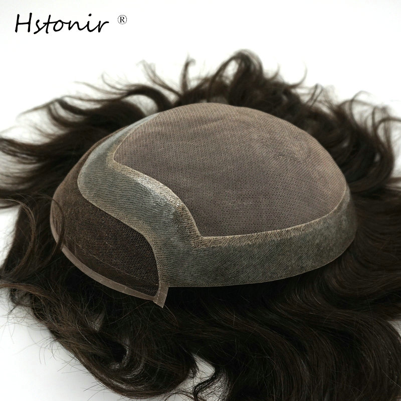 Hstonir Mens Toupee Medical Adhesive Mono Wig Mens Hair Piece Hair Replacement Indian Remy Hair System H046