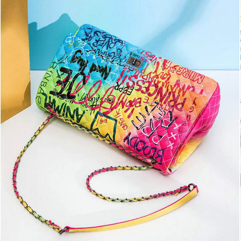 Image 5 - Women Bag 2019 New Color Graffiti Printed Shoulder Big Bags 