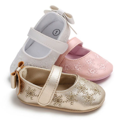 2020 Brand New Newborn Infant Baby Girl Princess Non-Slip Bow Flower Baby Shoes Soft Sneaker Solid Flower Bow First Walkers