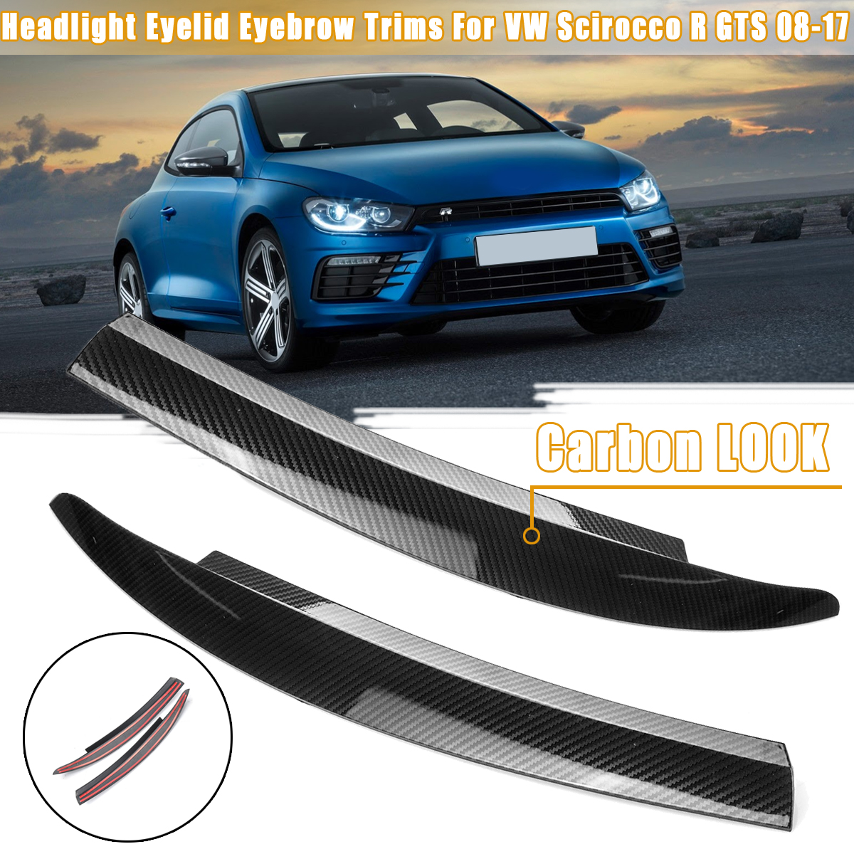 2PCS Black/Carbon Fiber Front Headlight Eyelid Eyebrow Trims For VW Scirocco R GTS 2008