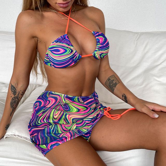High Waist Mesh Skirt Triangle Bikini
