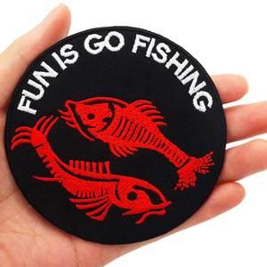 Go fishing patch iron on backing punk вышитые байкерские мотоциклетные нашивки для жилета на спине