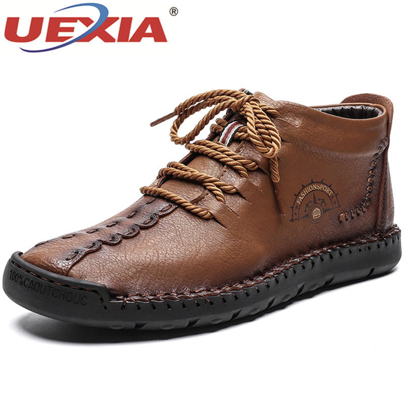 UEXIA Handmade Winter Men Ankle Boots With Fur Warm Plush Snow Boots Men Casual Sneakers Shoes Large Size Botas Hombre Footwear