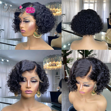 Human-Hair-Wigs Closure Short Curly Side-Part Bob Lace Lace-Front Pre-Plucked Black-Women