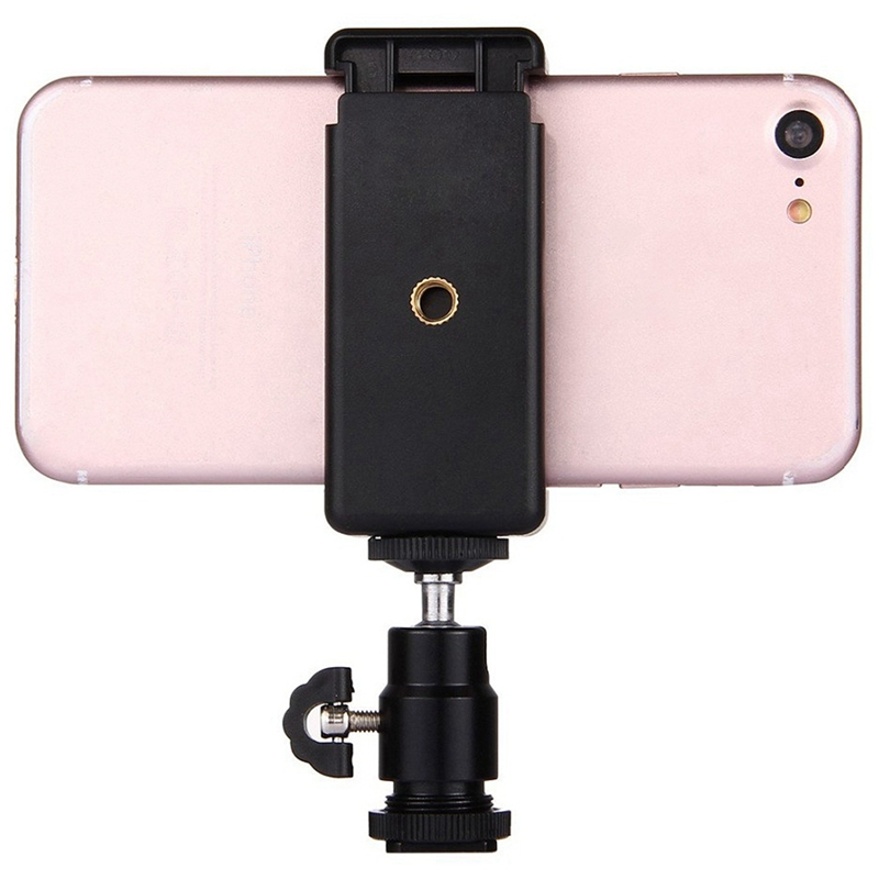 2 In 1 Mobile Phone Clip Holder <font><b>360</b></font> Ball Head Hot <font><b>Shoe</b></font> Adapter Mount Fit For Dslr Slr Camera image