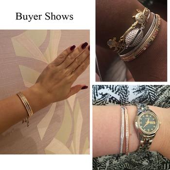 CWWZircons Adjustable Bracelet Bangle for Women Captivate Bar Slider Brilliant CZ Rose Gold Color Jewelry Pulseira Feminia CB089 5