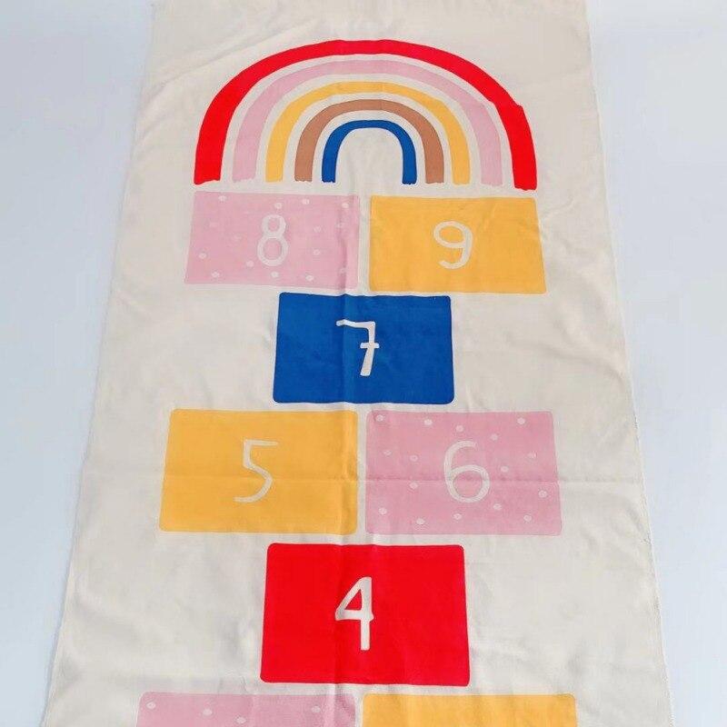 Hopscotch Games Kids Carpet Bedroom Kids Non Slip Rug Figures Print Floor Mat Playmat
