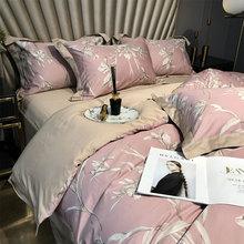 Vintage cobertura de cama campestre set girl, full queen king pink flower algodón doble textil hogar cama funda de almohada funda de edredón