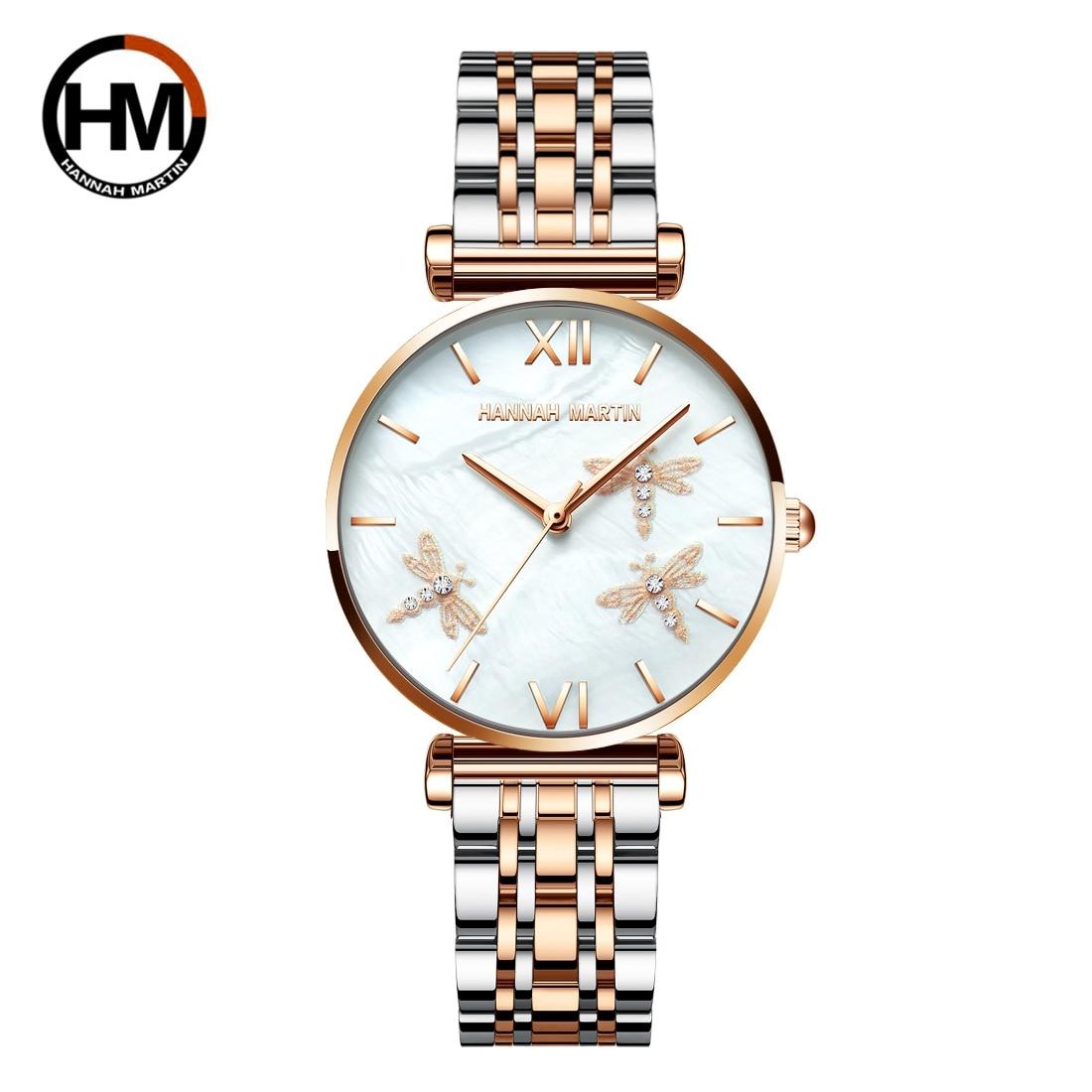 2021 novo design japão akoya pérola concha libélula senhoras luxo diamantes vieira relógios de aço inoxidável para mulher transporte da gota