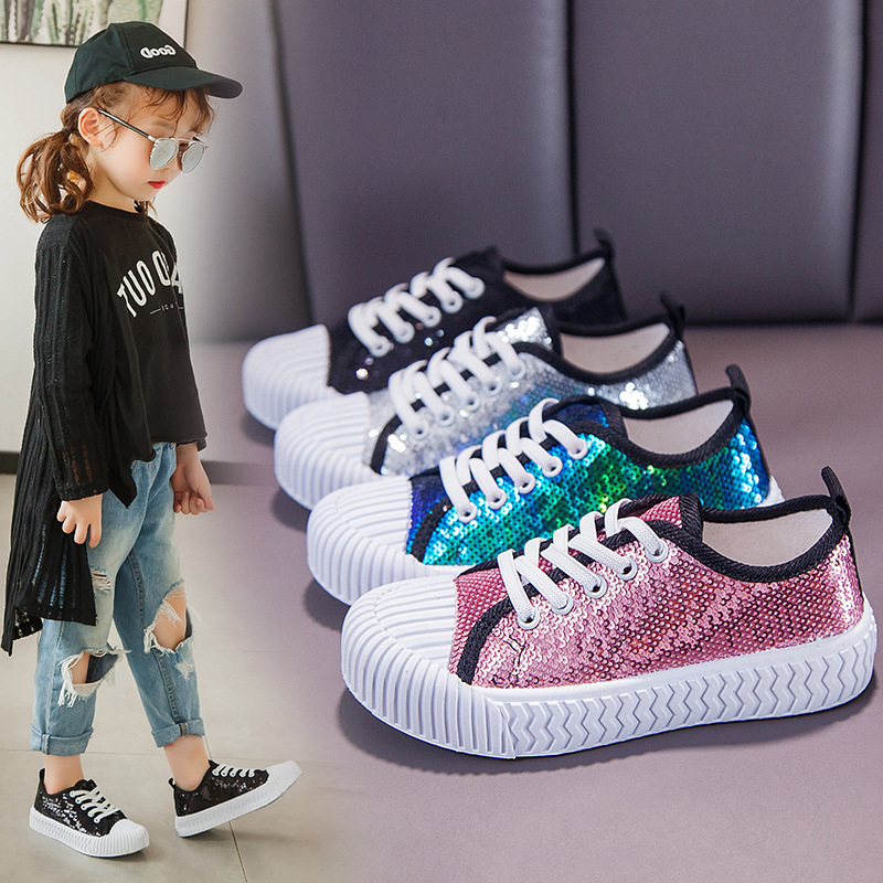 2019 Autumn Glitter Children Sequins Canvas Shoes Casual Girls Sneakers Breathable Fashion Kids Cookie Shoes Boys Shoes