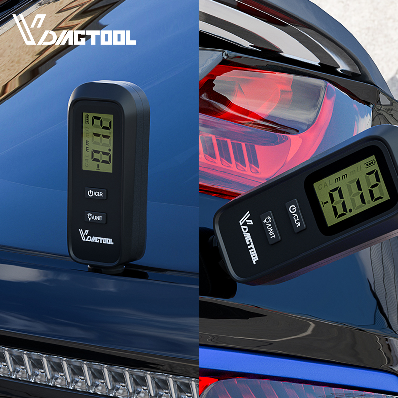 VDIAGTOOL Car Paint Tester LCD Backlight Display VC100 Thickness Coating Meter With Battery Automotive Paint Thickness Gauge