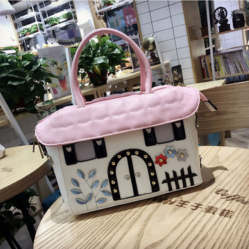Women Leather Patchwork Embroidery Shoulder Bags Handbags Totes Braccialini Brand Style Cartoon Handmade Candy House Color Grid