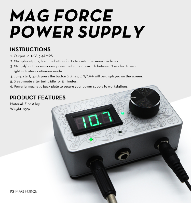 Engraving Design 3.4 Amp Mag Force Digital Tattoo Power Supply