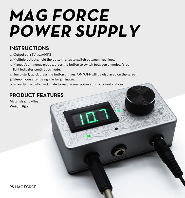 Engraving Design 3.4 Amp Mag Force Digital Tattoo Power Supply
