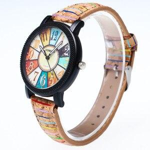 Аналоговые кварцевые модные наручные часы в стиле Харадзюку с изображением граффити и кожаным ремешком, женские часы, женские часы