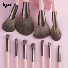 BEILI 11pcs Pink Professional Synthetic Makeup brushes set Powder Highlighter Blending Eyeshadow Eyebrow make up brush kit
