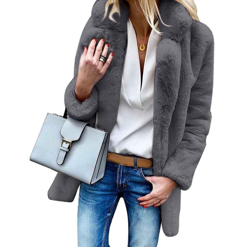 Fluffy Artificial Fleece Casual Outerwear Long Sleeve Women Winter Coat Party Faux Fur Lapel Neck Warm Teddy Bear Daily Soft