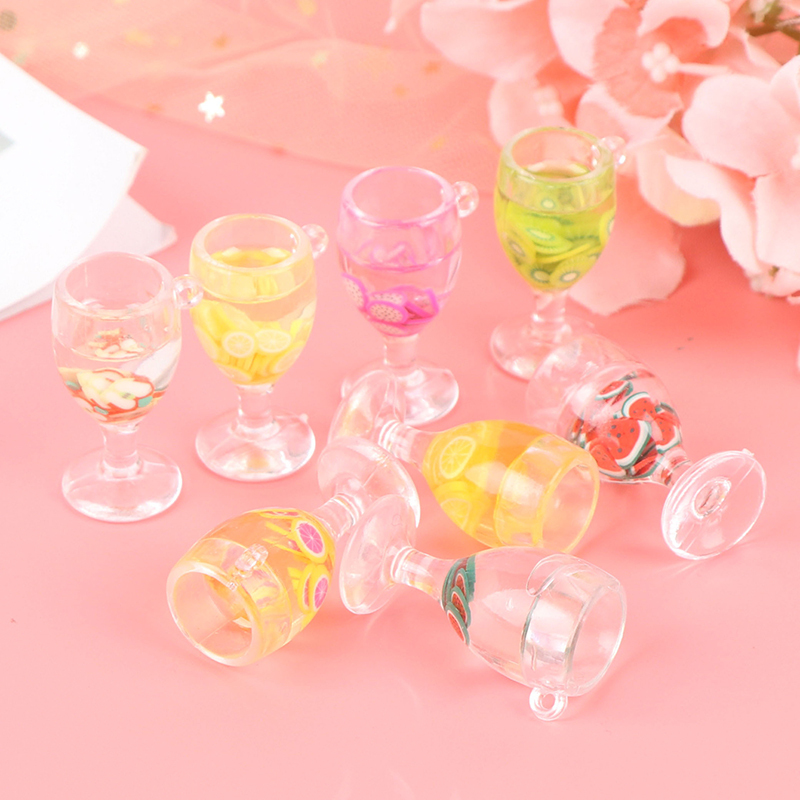 1:12 Scale Resin Mini Fruit Simulation Drink For Dollhouse Miniature Toy Milk Tea Drink Doll Food Kitchen Accessories