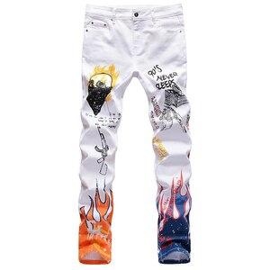 Image 3 - Sokotoo男性のファッションの手紙炎黒プリントジーンズスリムストレート着色塗装ストレッチパンツ