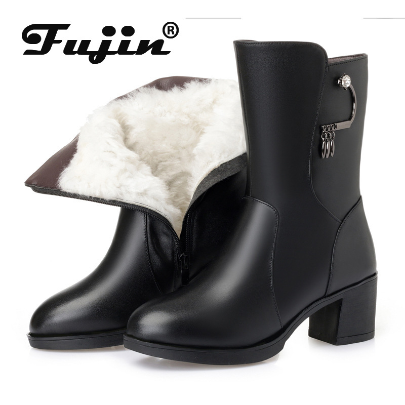 Fujin Wool Women Snow Boots Mid Calf Warm Genuine Leather Fur Warm Shoes Leather Plush Mid Calf Boots Platform Women Winter Boot