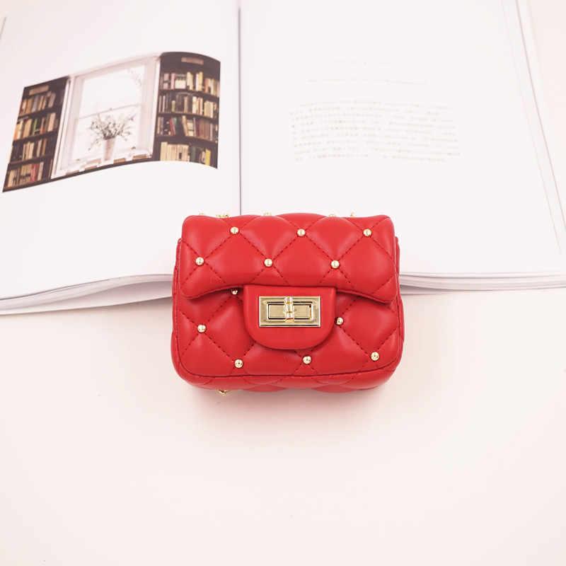 Мини-сумка для маленьких девочек, модная милая сумка для девочек, сумки с заклепками из искусственной кожи, сумка-мессенджер принцессы, Корейская сумка для девочек с цепочкой, быстрая доставка