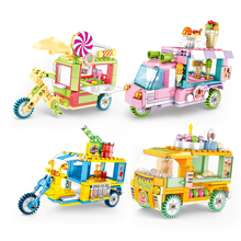 Street Shop Tricycle Car Model Building Blocks Compatible Legoed City Creator Educational Friends Bricks Children Toys for Girl lepin 15009 pet shop supermarket model city street building blocks compatible 10218 toys for children