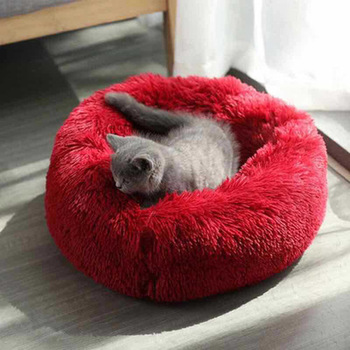 Pet Bed Dog Cat Sleep Soft House Warm Round Cat Kennel Comfortable Calm Pet Bed Small Medium Cat Beds Product Cushion Mat image