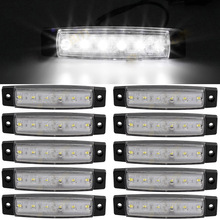 10pcs White 12-24V 6 SMD LED Auto Car Bus Truck Lorry Side Marker Indicator low Led Trailer Light Rear Side Lamp
