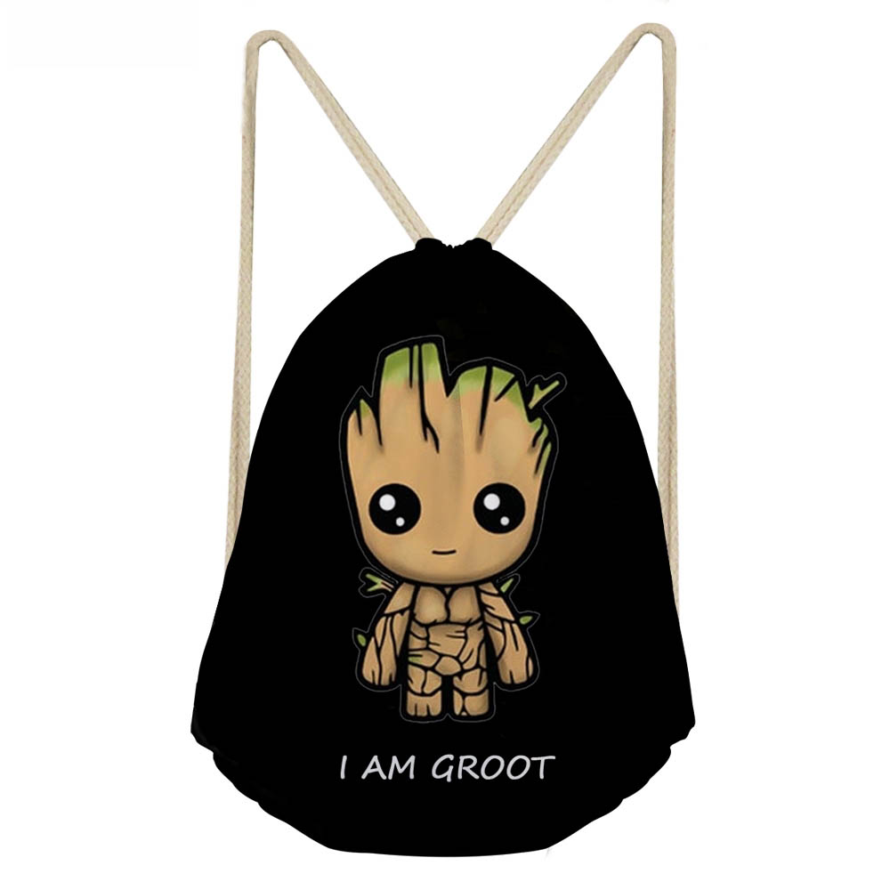 ThiKin Black Cartoon I Am Groot Drawstring Bag For Boys Cool School Kids Travel Backpack Small Storage Beach Large Rucksack