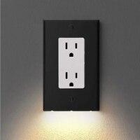 Neue Ankunft 1PC Schaltet Sich Automatisch Auf/Off Outlet Wand Platte Mit LED Nacht Lichter Outlet Abdeckung Duplex Wand platte 12x7x3cm