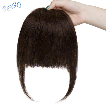 SEGO Straight 3 Clip-in Human Blunt Bangs Sweeping Side Bangs Front Hair Fringes Non-Remy 100% Human Hair  Black Brown Blond 3