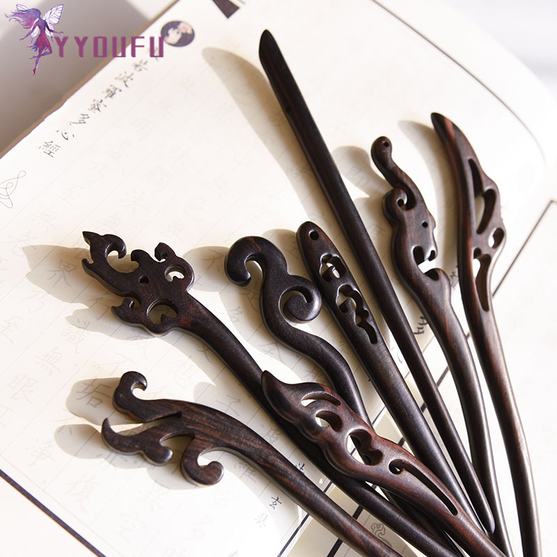 YYOUFU 16 Styles Ebony Hairpin Chinese Style Retro Hair Stick Natural Wood Jewelry Vintage Exquisite Hair Accessories