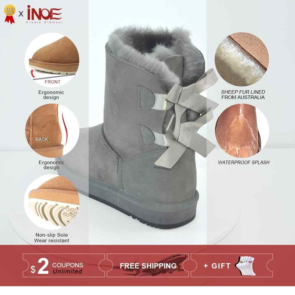 INOE אופנה כבש זמש עור צמר פרווה מרופד אמצע עגל נשים חורף שלג מגפי עם bow-קשר בנות מקרית Shearling מגפי