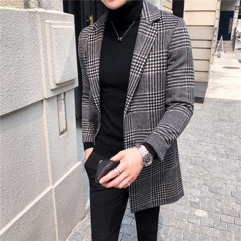 High Quality Luxury Mens Blazer Coat Korean Slim Fit Plaid Suit Jackets Male Brand Single Breasted Long Coats Plus Size L-4XL