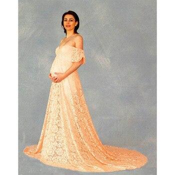 цена 2020 Lace Maternity Dresses For Photo Shoot Smear Short Sleeve Long Skirt Pregnancy Dress 10 Colors Maternity Dresses онлайн в 2017 году