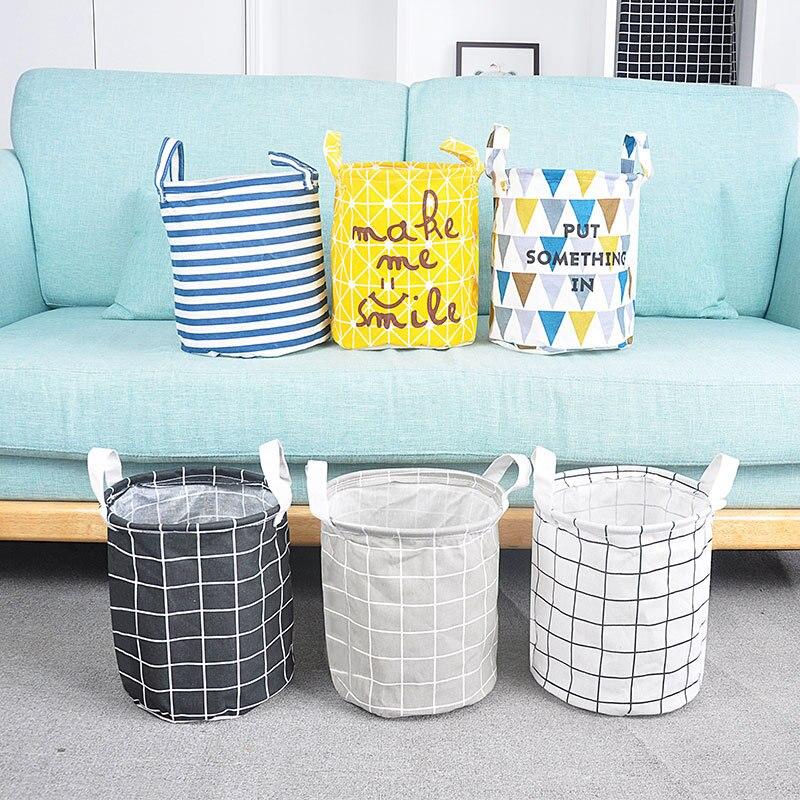 Foldable Cotton Laundry Basket Dirty Clothes Storage Bag Organizer Fabric Waterproof Laundry Bucket Household Laundry Hamper