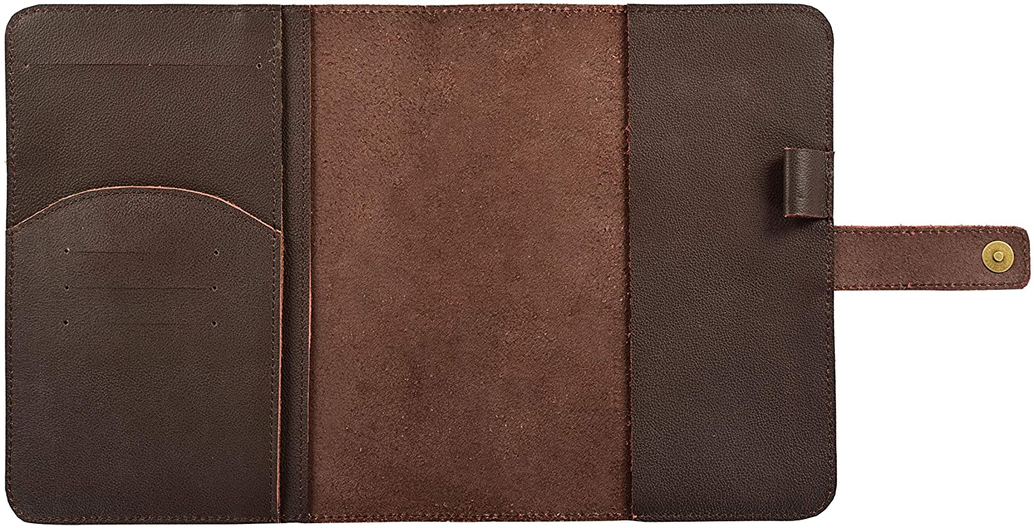 A5 Leather Journal Cover Multi Organizer with Credit Card Holder, Pockets and Pen - Fits 8.5 X 6 X 1 A5 Notebooks Planner Cover