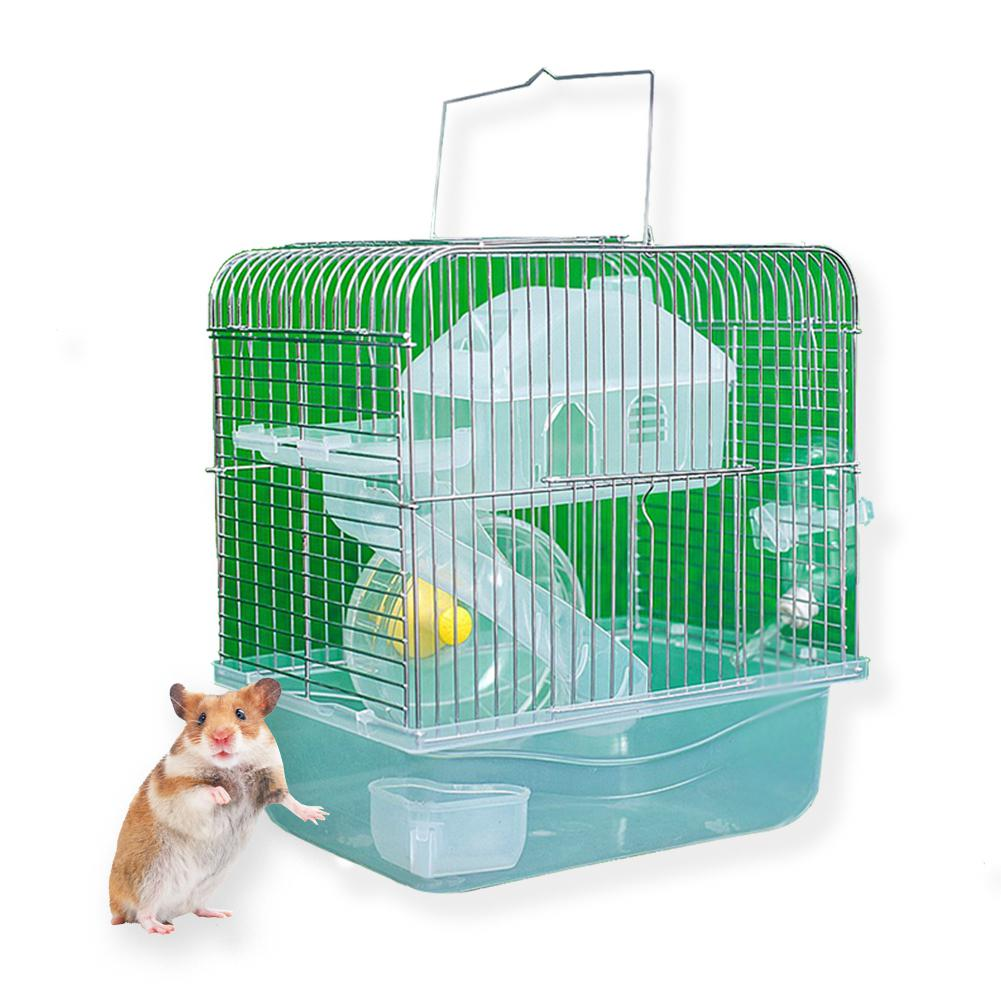 Stainless Steel Pet Cage Transparent Crystal Color Hamster Cottage Double Layer House For Hamster Golden Hamster Pet